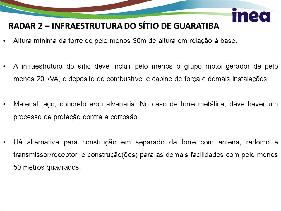 RADAR 2 – INFRAESTRUTURA DO SÍTIO DE GUARATIBA