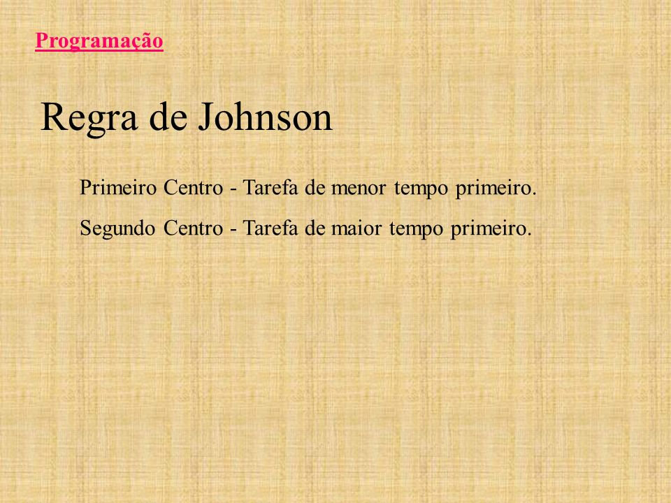 Regra de Johnson Programação