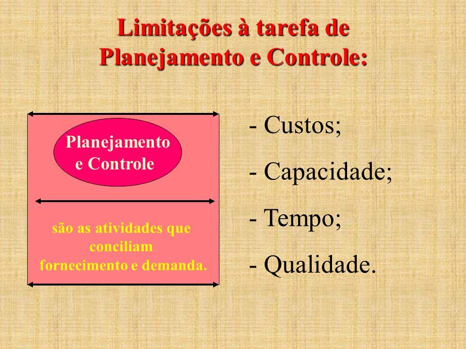 Limitações à tarefa de Planejamento e Controle: