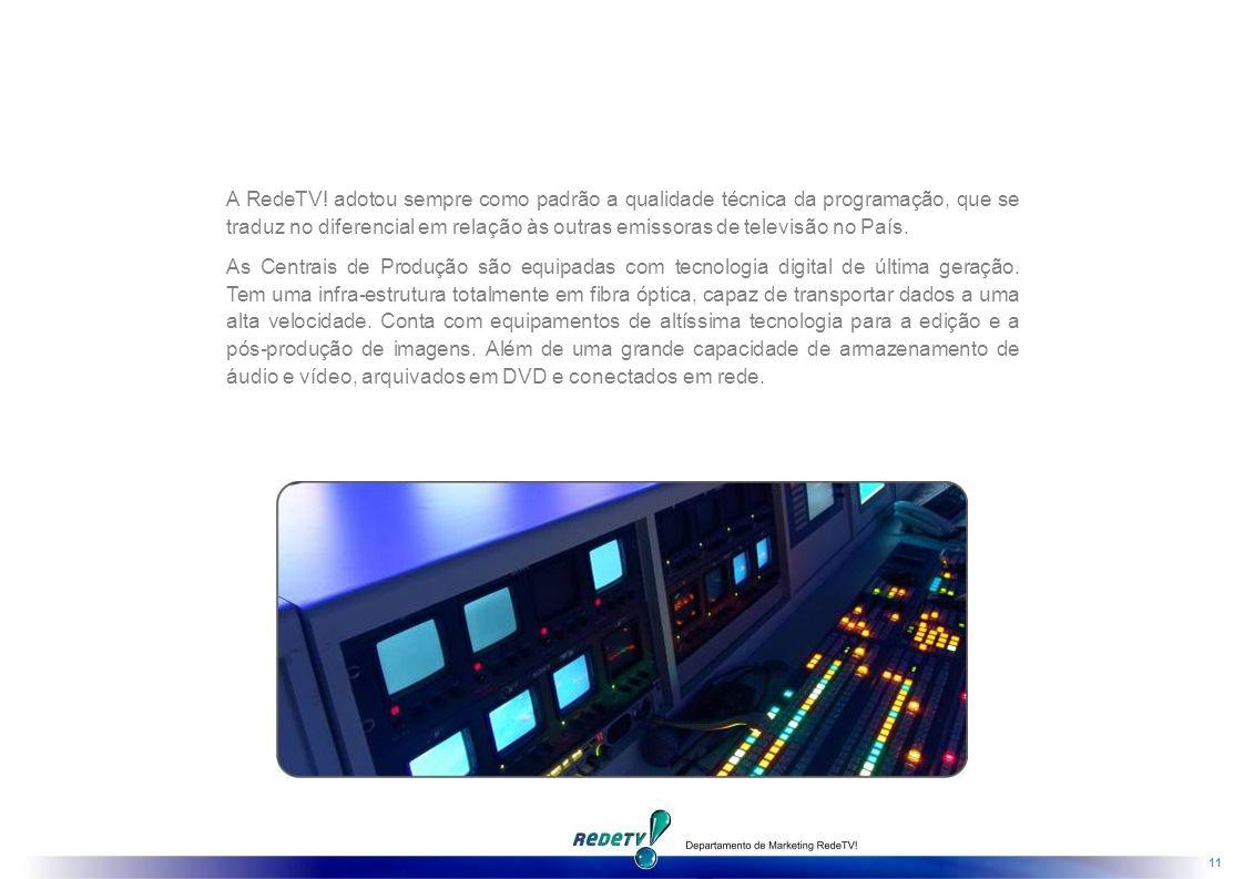 A RedeTV! adotou sempre como padrão a qualidade técnica da programação, que se traduz no diferencial em relação às outras emissoras de televisão no País.