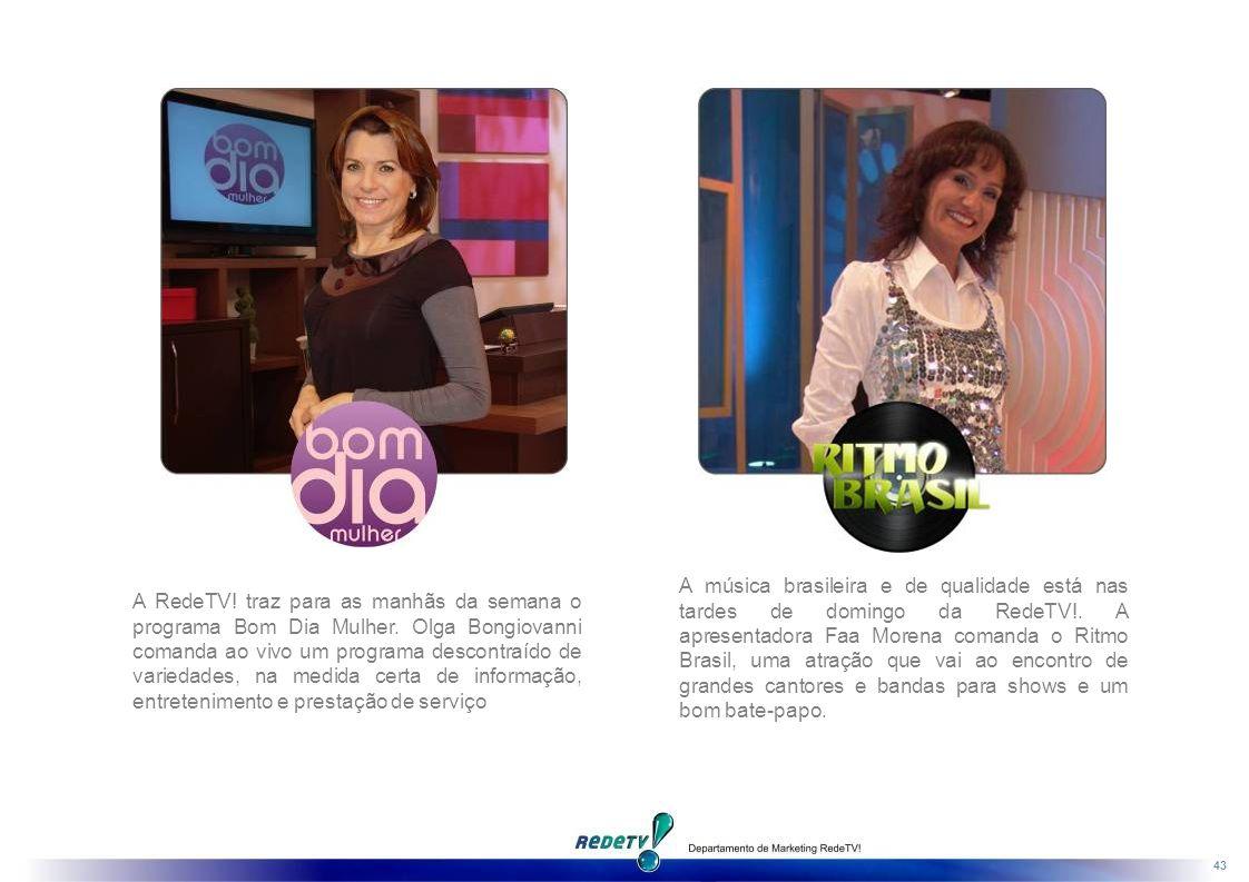 A música brasileira e de qualidade está nas tardes de domingo da RedeTV!. A apresentadora Faa Morena comanda o Ritmo Brasil, uma atração que vai ao encontro de grandes cantores e bandas para shows e um bom bate-papo.