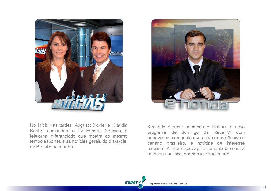 No início das tardes, Augusto Xavier e Cláudia Barthel comandam o TV Esporte Notícias, o telejornal diferenciado que mostra ao mesmo tempo esportes e as notícias gerais do dia-a-dia, no Brasil e no mundo.