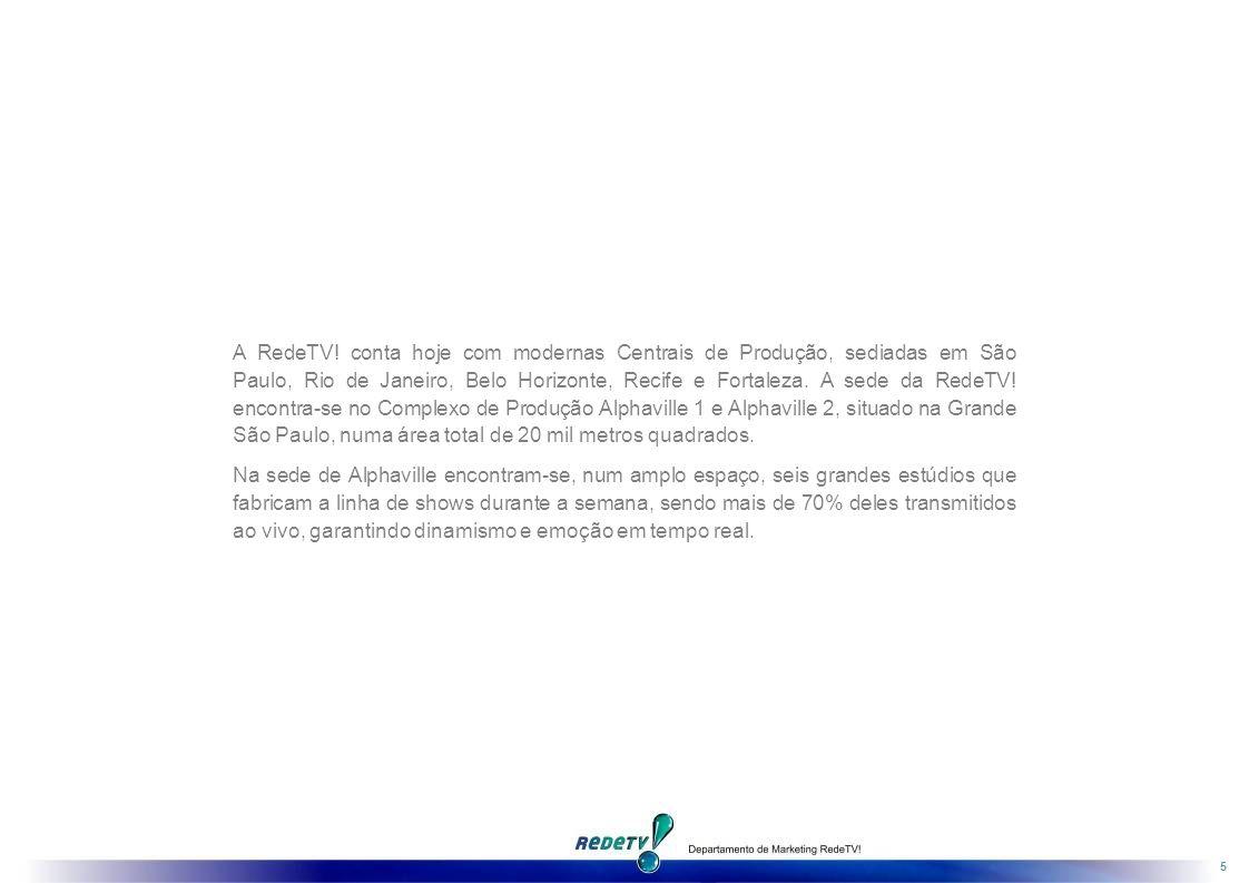 A RedeTV! conta hoje com modernas Centrais de Produção, sediadas em São Paulo, Rio de Janeiro, Belo Horizonte, Recife e Fortaleza. A sede da RedeTV! encontra-se no Complexo de Produção Alphaville 1 e Alphaville 2, situado na Grande São Paulo, numa área total de 20 mil metros quadrados.