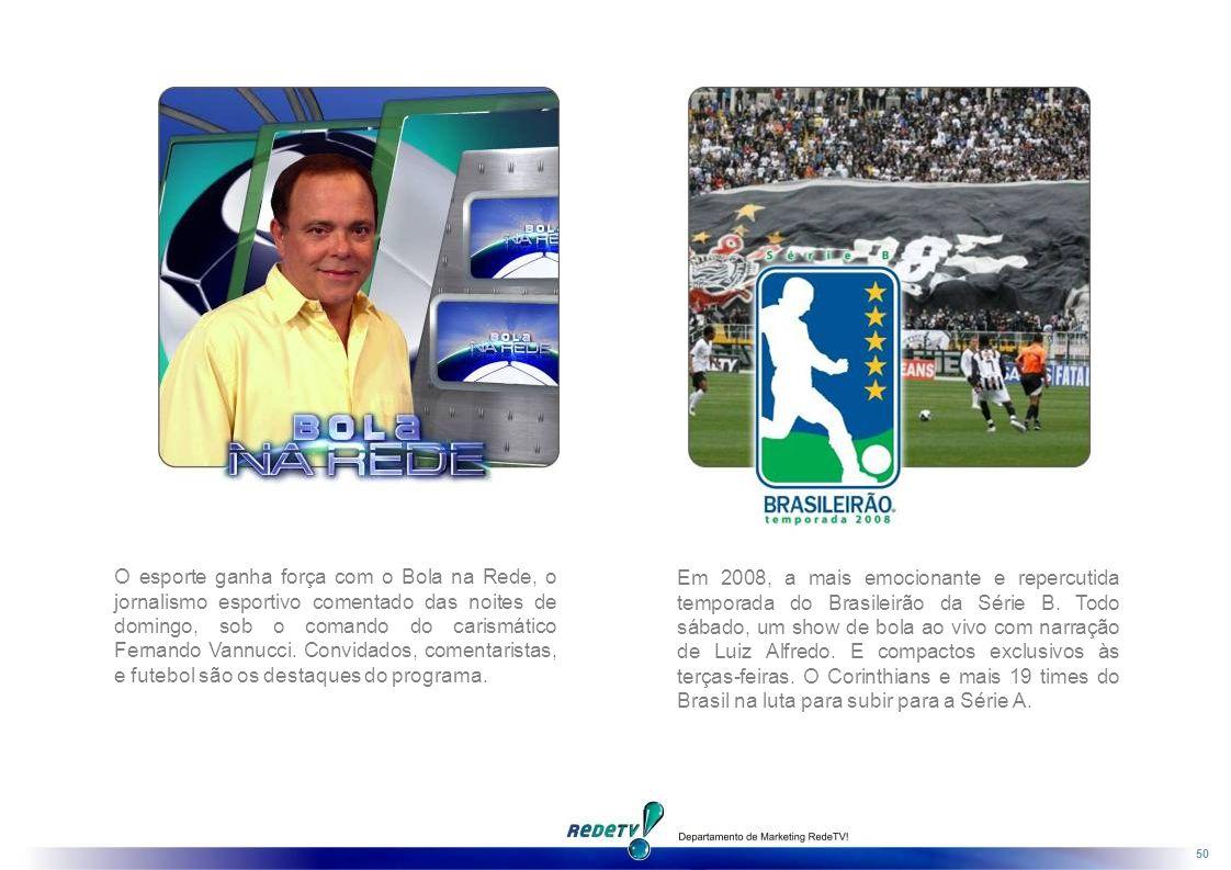 O esporte ganha força com o Bola na Rede, o jornalismo esportivo comentado das noites de domingo, sob o comando do carismático Fernando Vannucci. Convidados, comentaristas, e futebol são os destaques do programa.