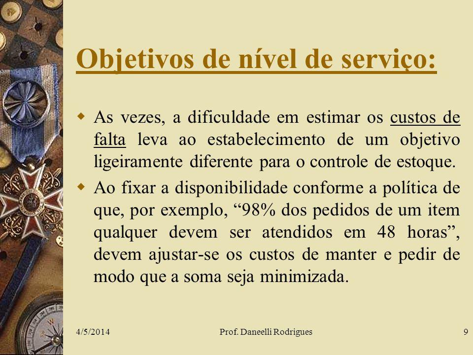 Objetivos de nível de serviço: