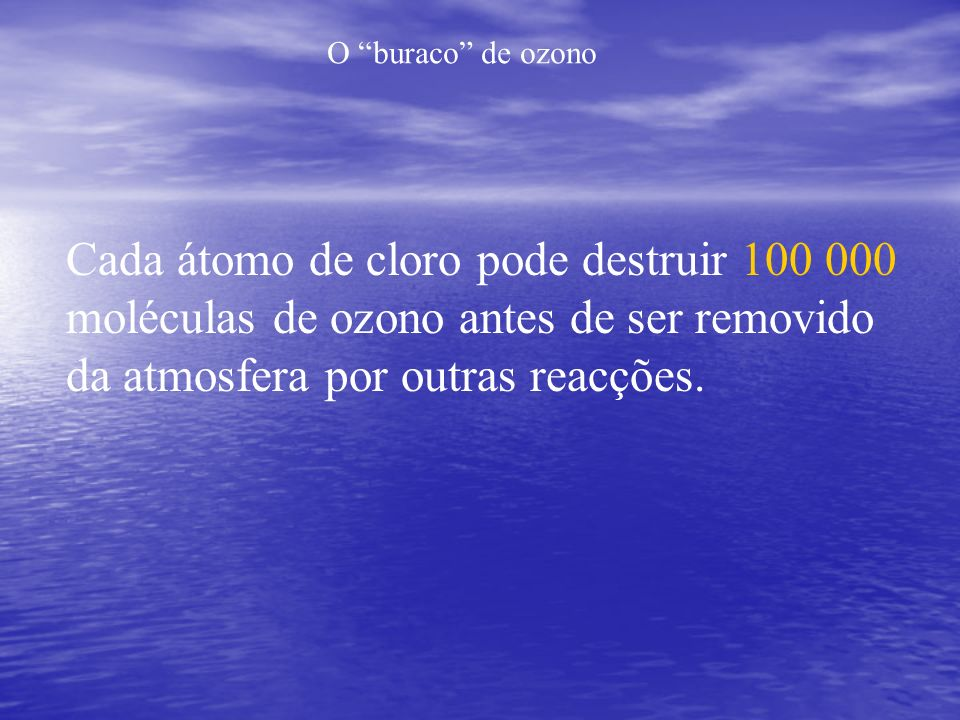 O buraco de ozono Cada átomo de cloro pode destruir 100 000 moléculas de ozono antes de ser removido da atmosfera por outras reacções.