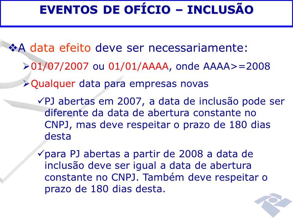 EVENTOS DE OFÍCIO – INCLUSÃO