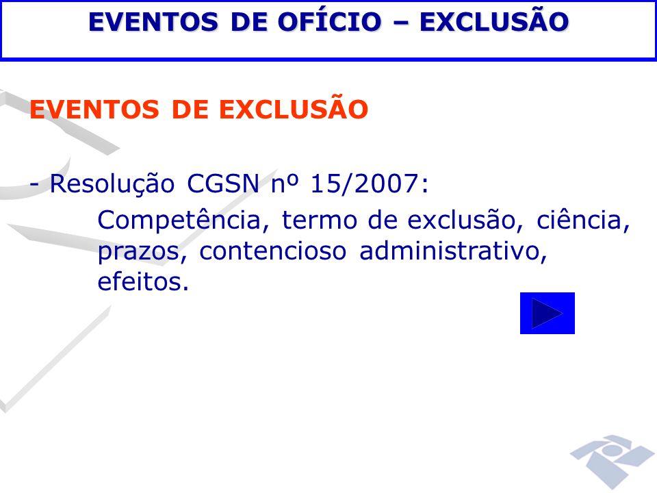 EVENTOS DE OFÍCIO – EXCLUSÃO