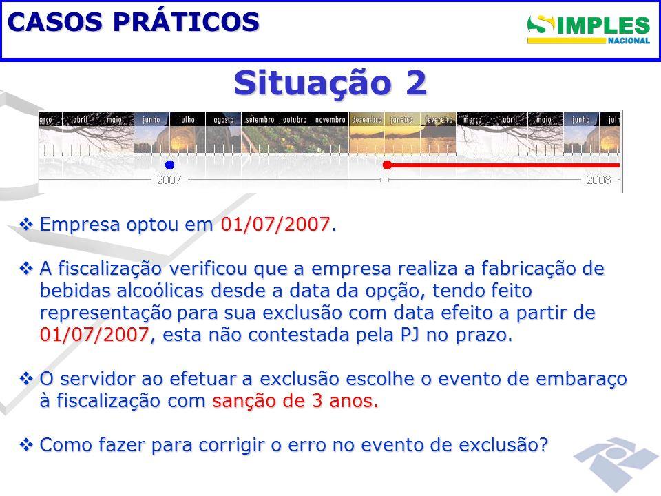 Situação 2 CASOS PRÁTICOS Empresa optou em 01/07/2007.