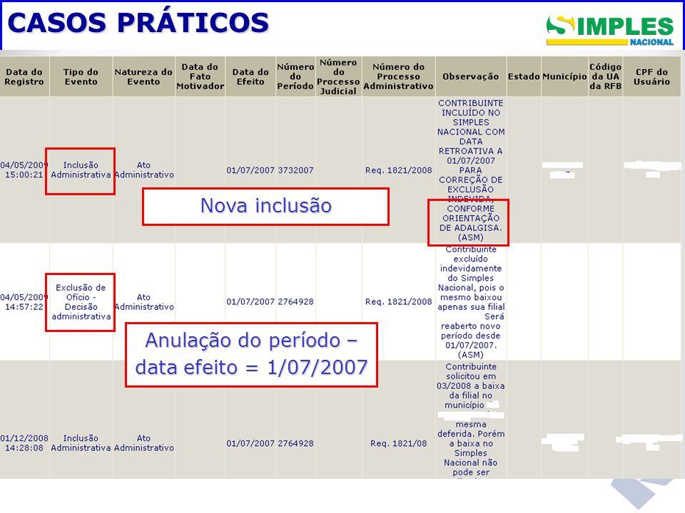 Anulação do período – data efeito = 1/07/2007