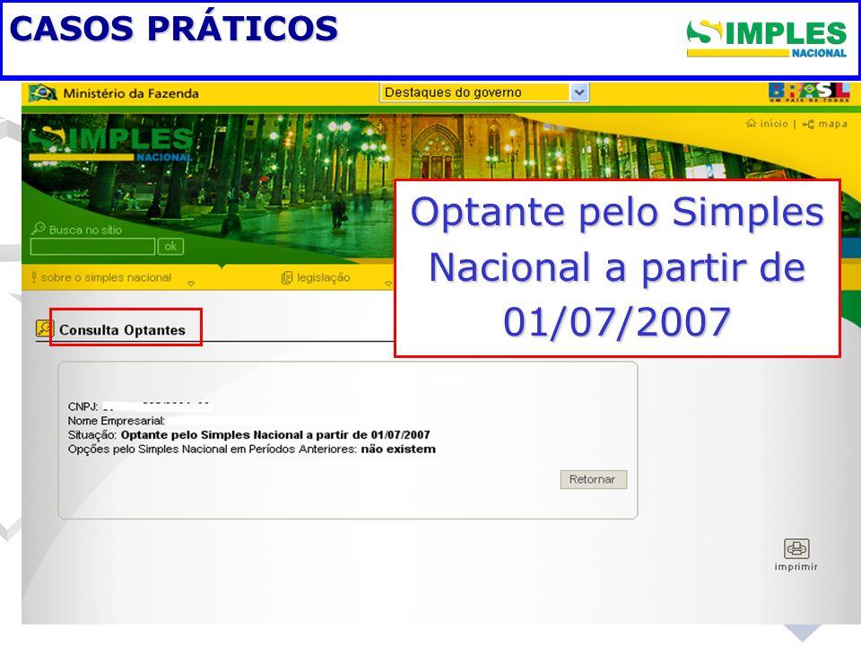 Optante pelo Simples Nacional a partir de 01/07/2007