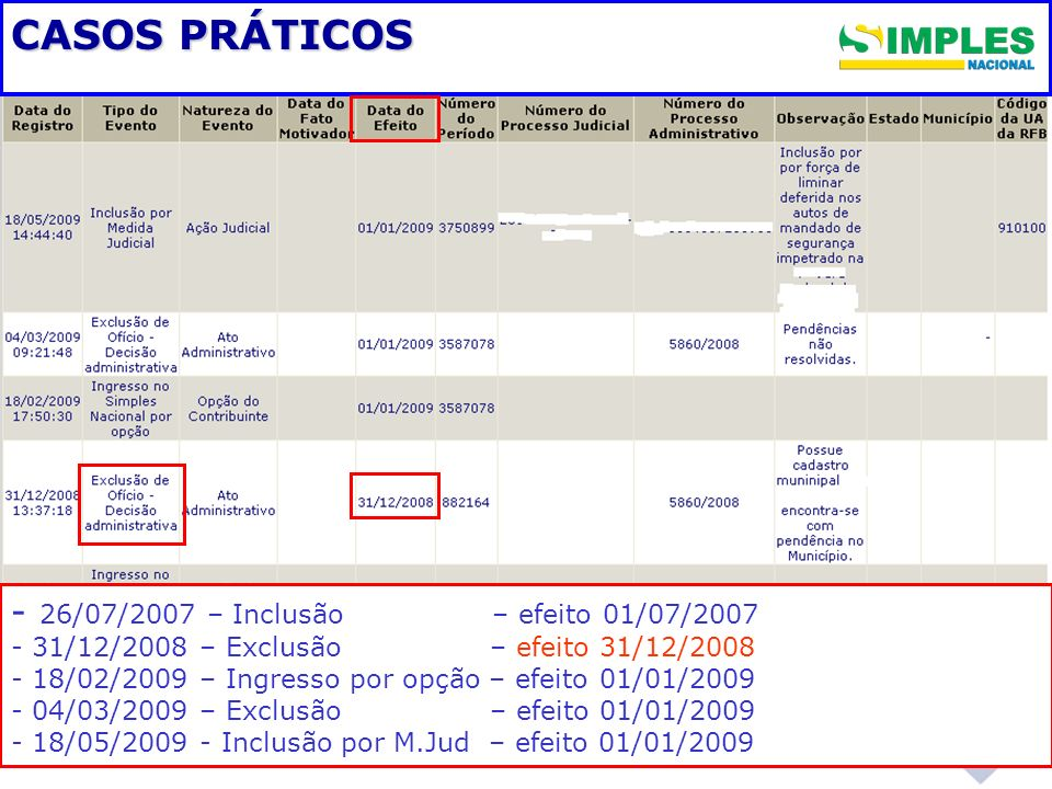 CASOS PRÁTICOS - 26/07/2007 – Inclusão – efeito 01/07/2007
