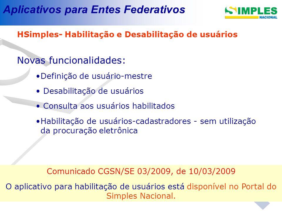 Comunicado CGSN/SE 03/2009, de 10/03/2009