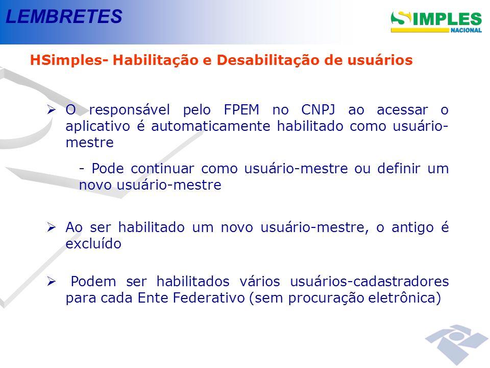 LEMBRETES HSimples- Habilitação e Desabilitação de usuários