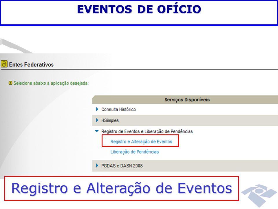 Registro e Alteração de Eventos