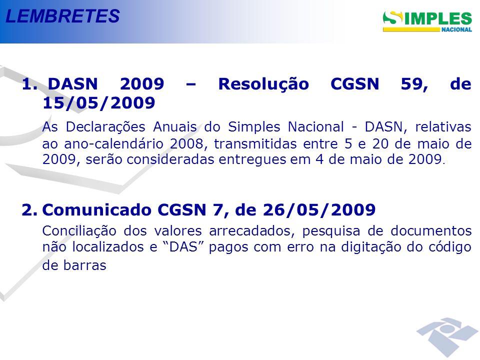 LEMBRETES DASN 2009 – Resolução CGSN 59, de 15/05/2009