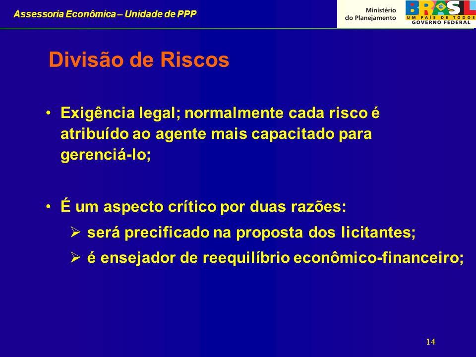 Divisão de Riscos Exigência legal; normalmente cada risco é atribuído ao agente mais capacitado para gerenciá-lo;