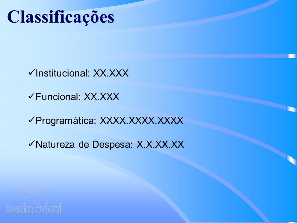 Classificações Institucional: XX.XXX Funcional: XX.XXX
