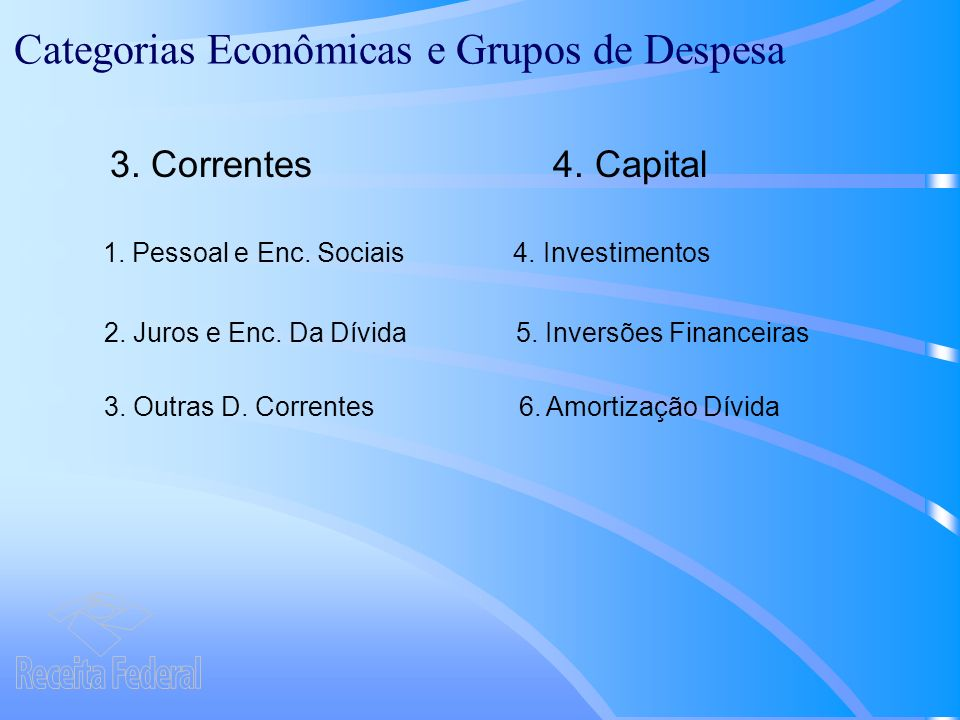 Categorias Econômicas e Grupos de Despesa