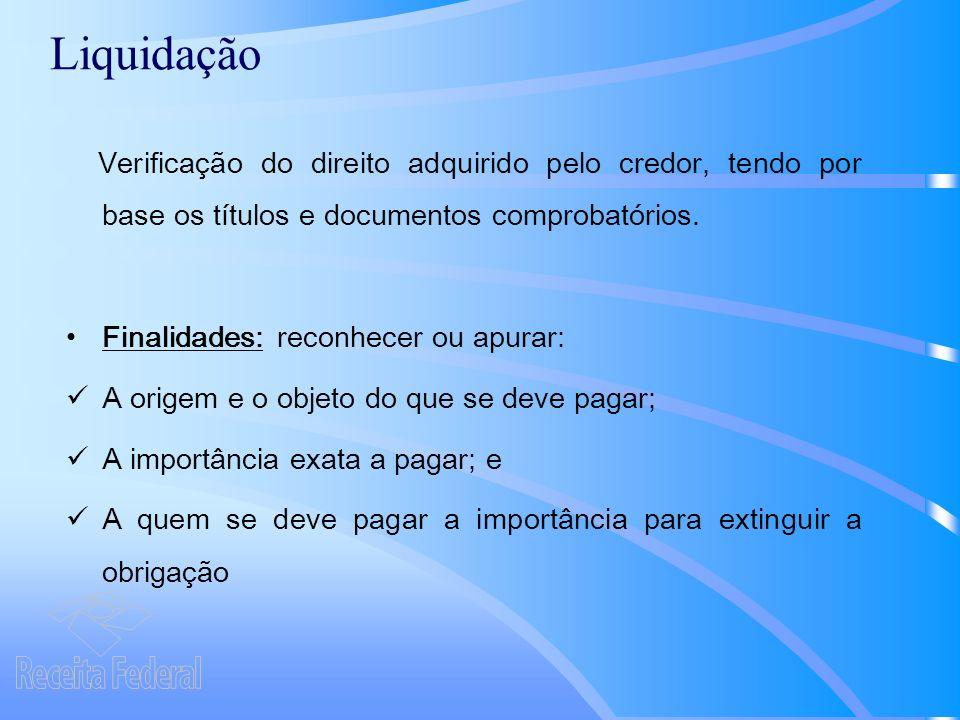 Liquidação Verificação do direito adquirido pelo credor, tendo por base os títulos e documentos comprobatórios.
