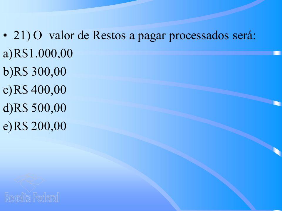 21) O valor de Restos a pagar processados será:
