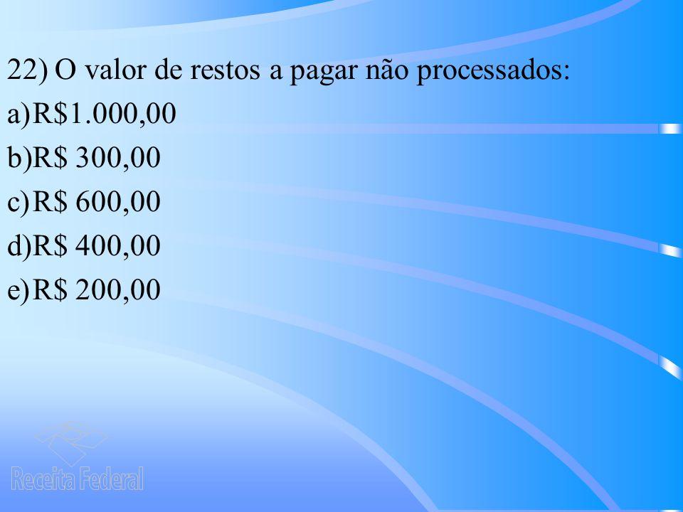 22) O valor de restos a pagar não processados: