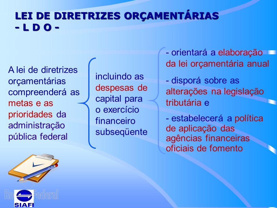 LEI DE DIRETRIZES ORÇAMENTÁRIAS - L D O -