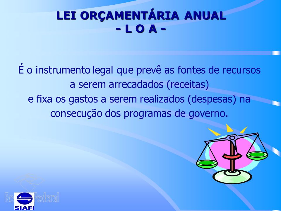 LEI ORÇAMENTÁRIA ANUAL - L O A -