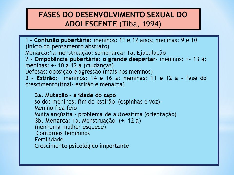 FASES DO DESENVOLVIMENTO SEXUAL DO ADOLESCENTE (Tiba, 1994)