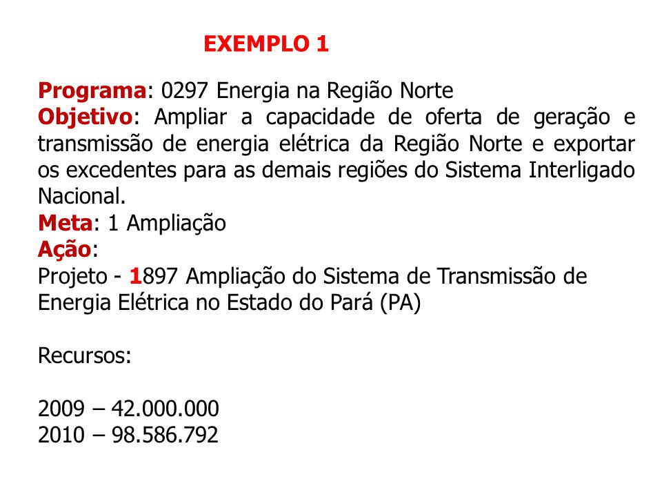 EXEMPLO 1 Programa: 0297 Energia na Região Norte.