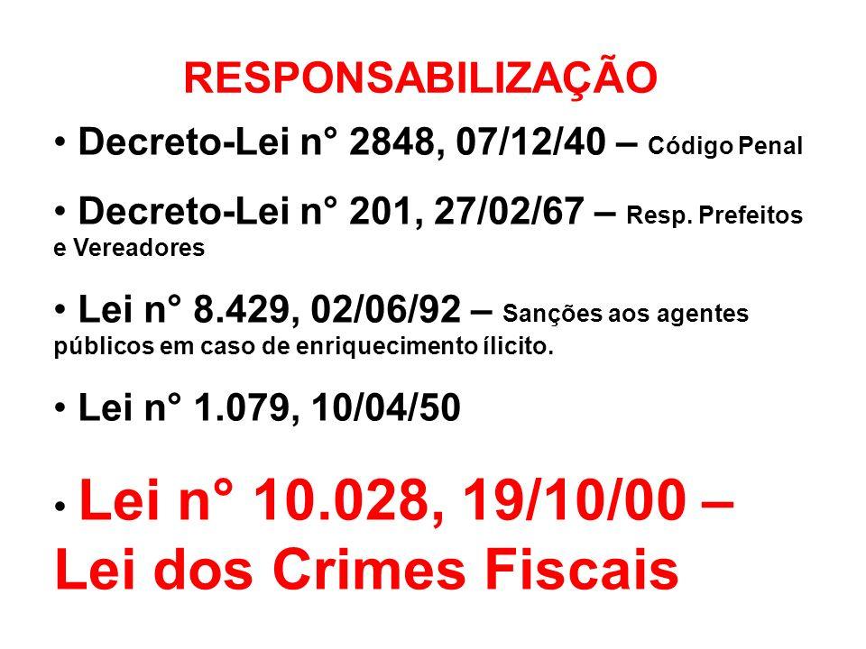 RESPONSABILIZAÇÃO Decreto-Lei n° 2848, 07/12/40 – Código Penal