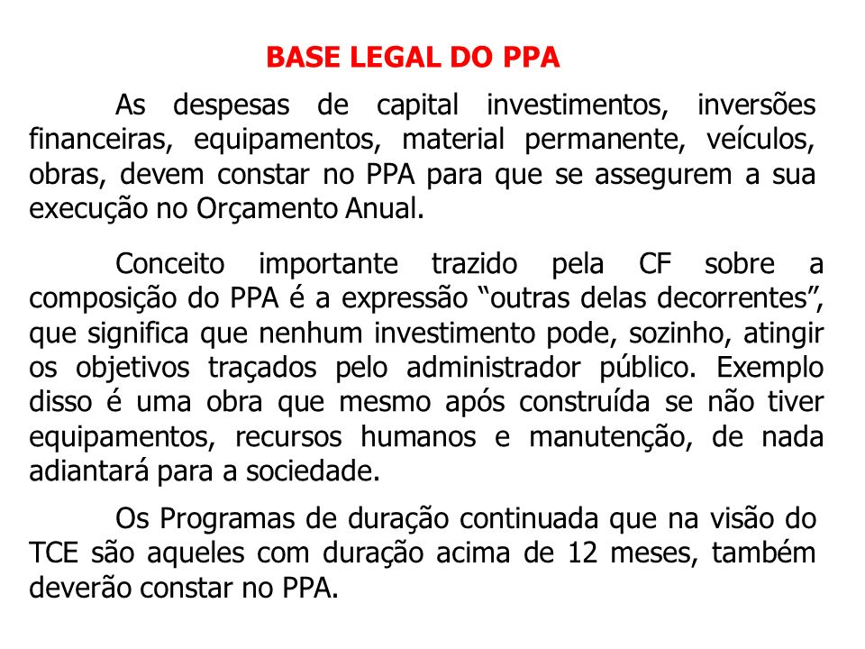 BASE LEGAL DO PPA