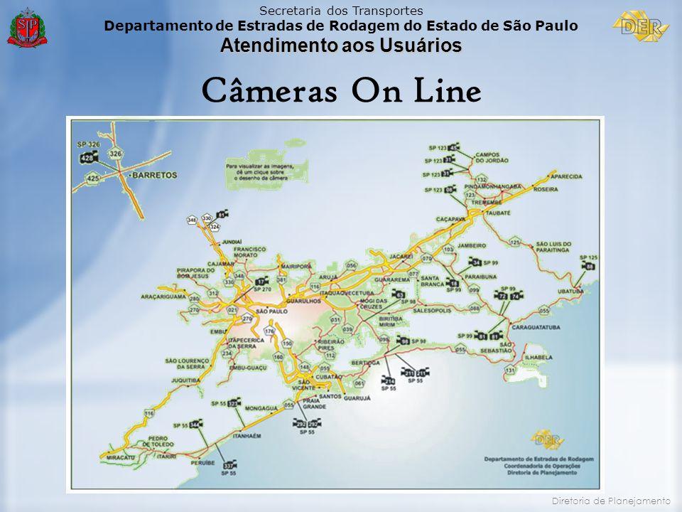 Câmeras On Line Temos hoje 22 câmeras implantadas nas SP 055, SP 098, SP 099, SP 123, SP 125, SP 270.