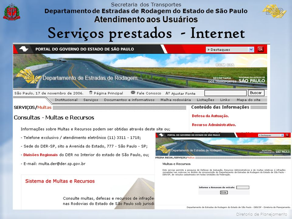 Serviços prestados - Internet