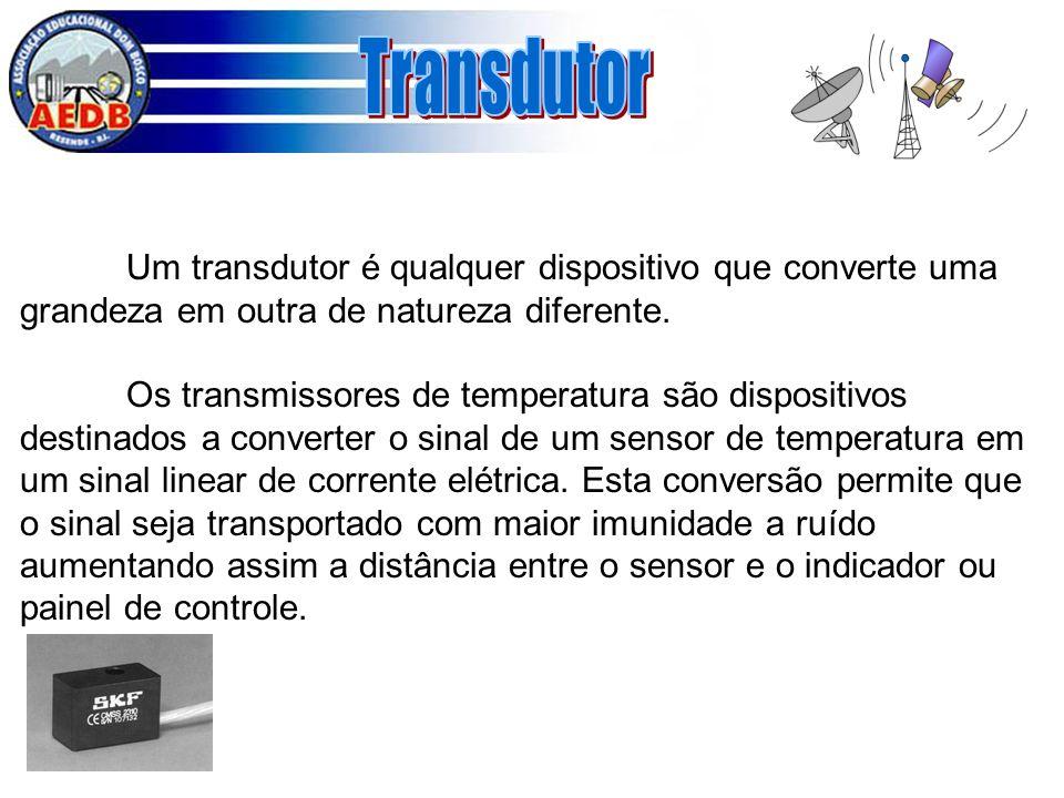 Transdutor Um transdutor é qualquer dispositivo que converte uma grandeza em outra de natureza diferente.