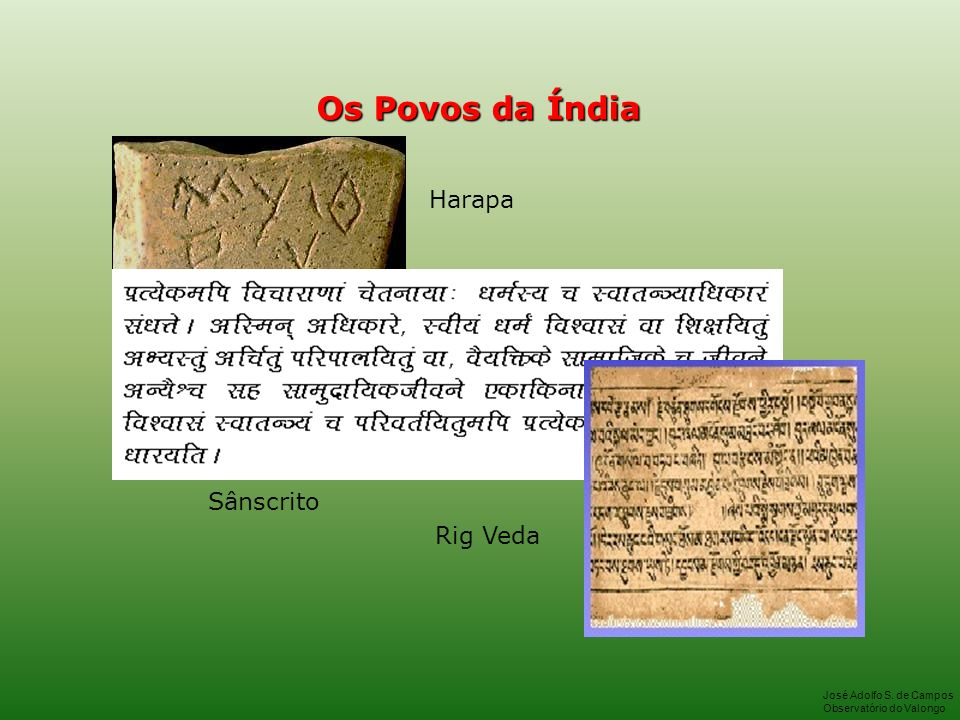 Os Povos da Índia Harapa Sânscrito Rig Veda José Adolfo S. de Campos