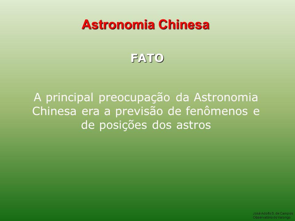 Astronomia Chinesa FATO A principal preocupação da Astronomia