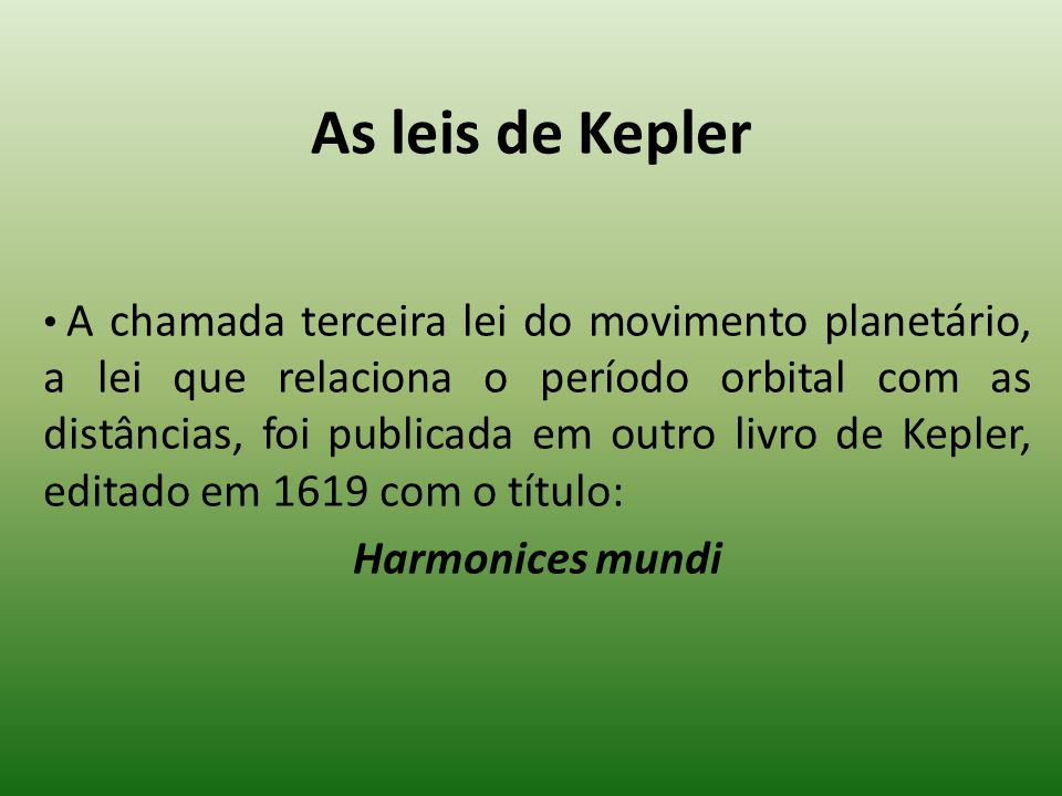 As leis de Kepler Harmonices mundi