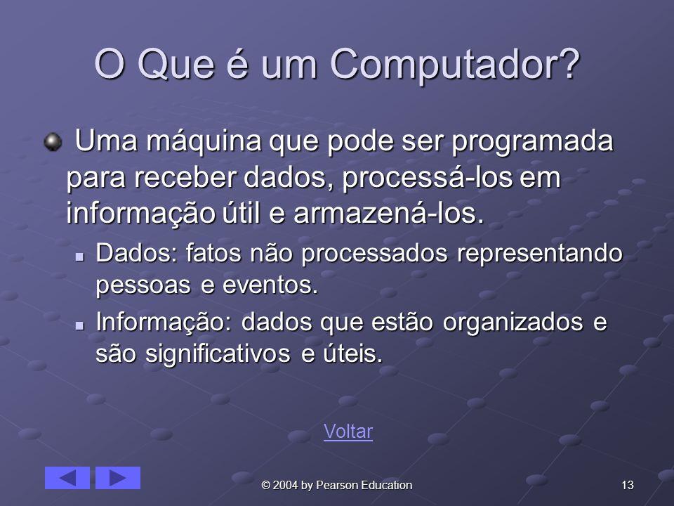 O Que é um Computador Uma máquina que pode ser programada para receber dados, processá-los em informação útil e armazená-los.