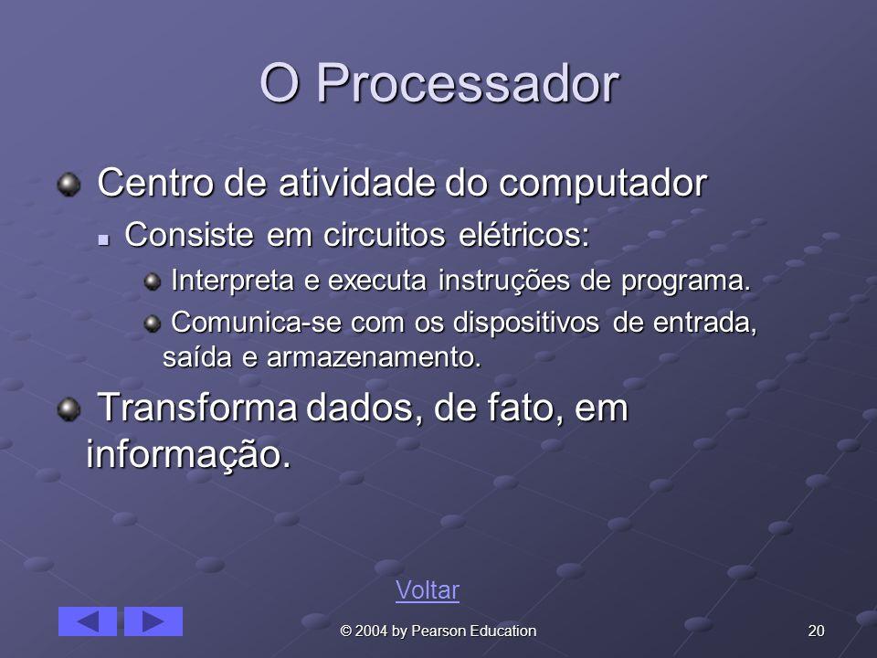 O Processador Centro de atividade do computador