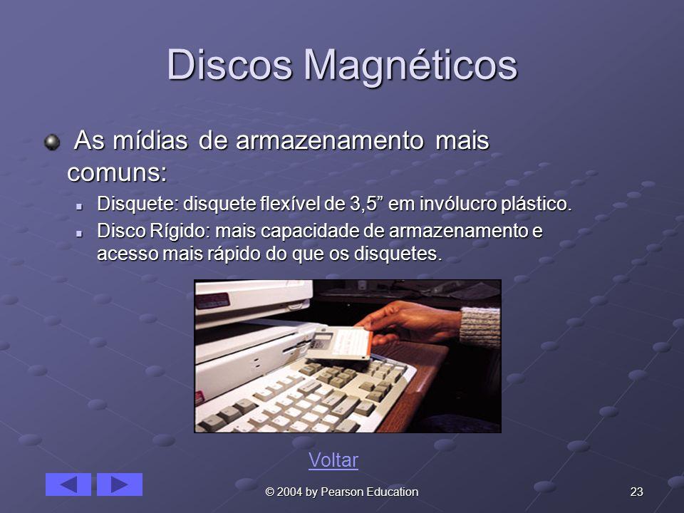 Discos Magnéticos As mídias de armazenamento mais comuns: