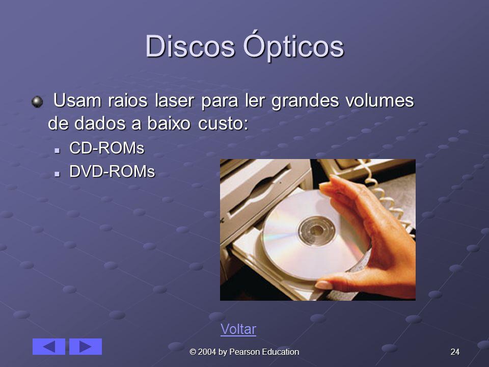 Discos Ópticos Usam raios laser para ler grandes volumes de dados a baixo custo: CD-ROMs. DVD-ROMs.
