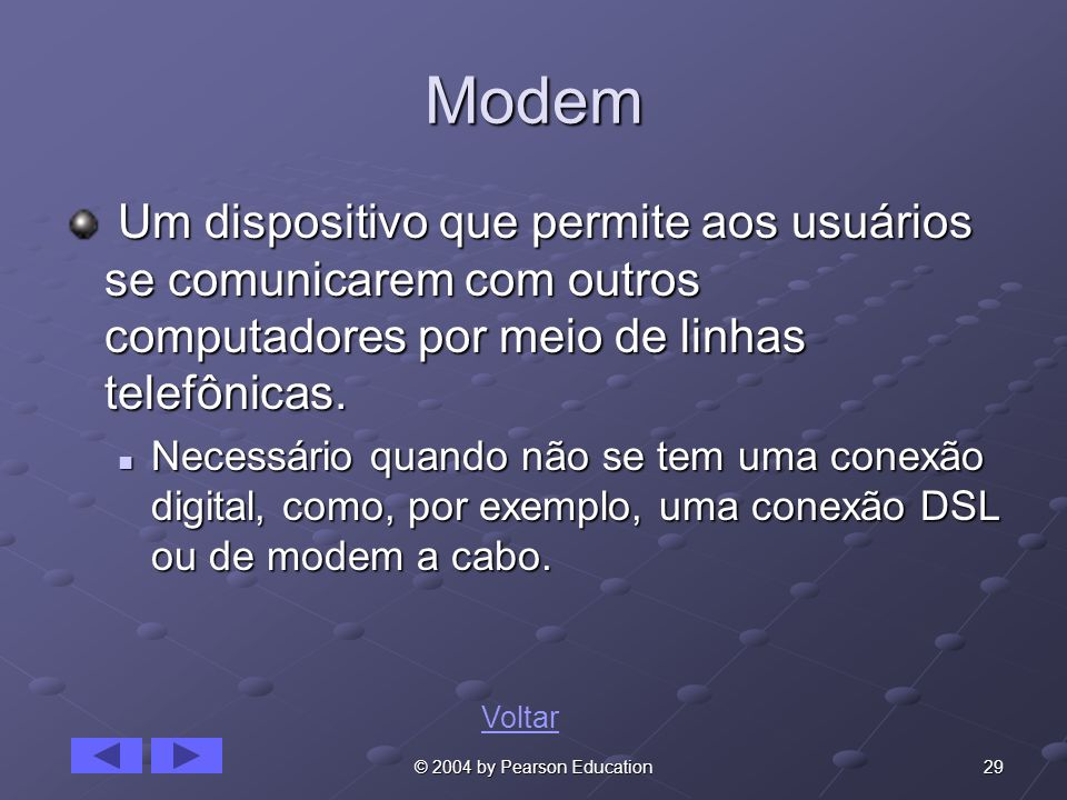 Modem Um dispositivo que permite aos usuários se comunicarem com outros computadores por meio de linhas telefônicas.