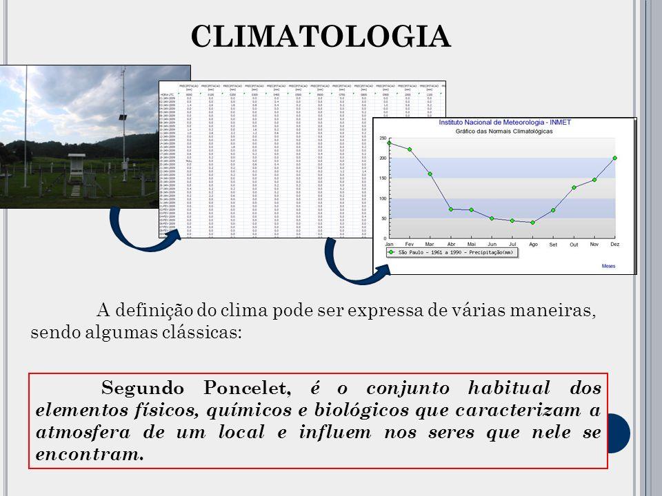 CLIMATOLOGIA A definição do clima pode ser expressa de várias maneiras, sendo algumas clássicas: