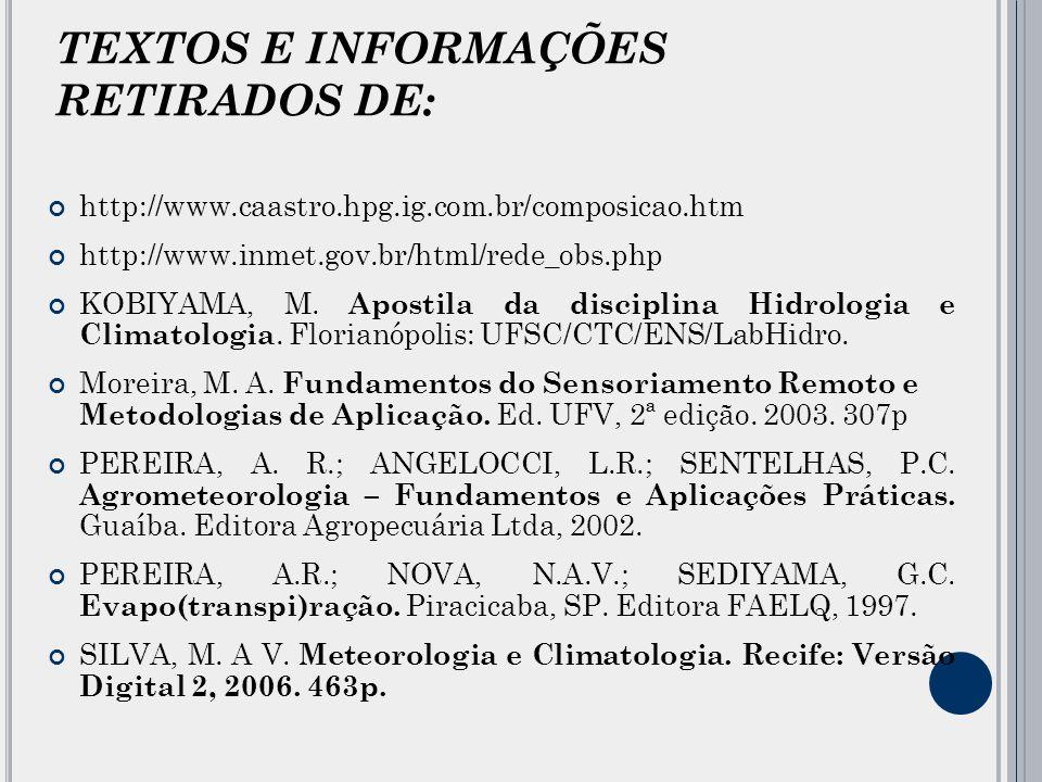 TEXTOS E INFORMAÇÕES RETIRADOS DE: