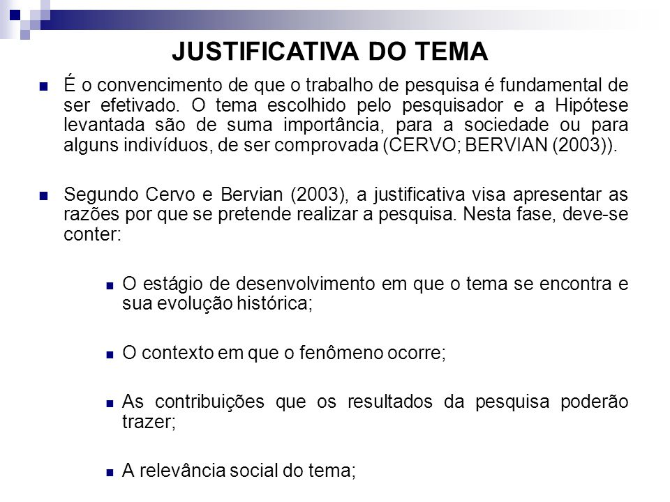 JUSTIFICATIVA DO TEMA