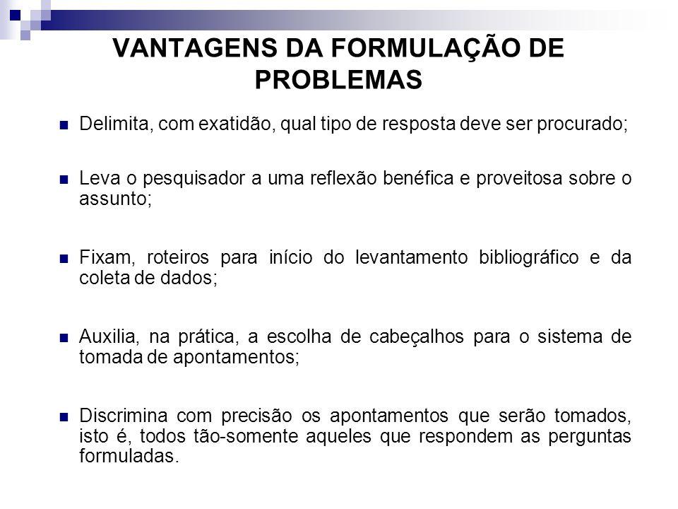 VANTAGENS DA FORMULAÇÃO DE PROBLEMAS