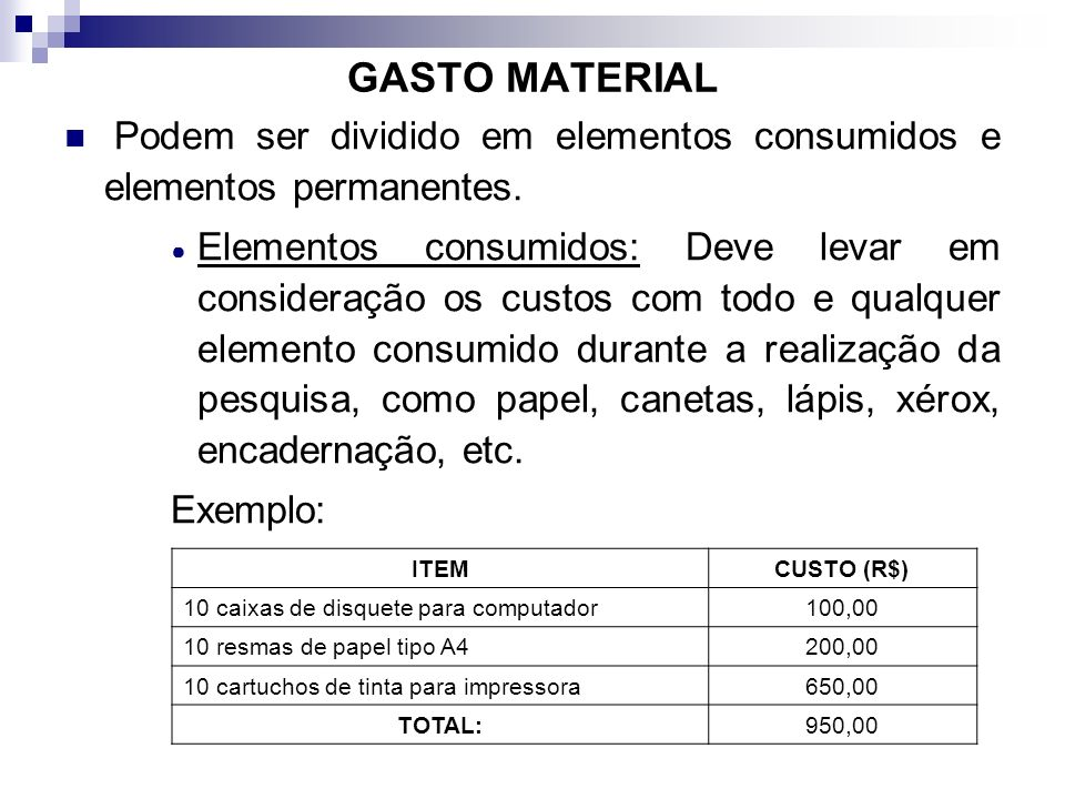 GASTO MATERIAL Podem ser dividido em elementos consumidos e elementos permanentes.