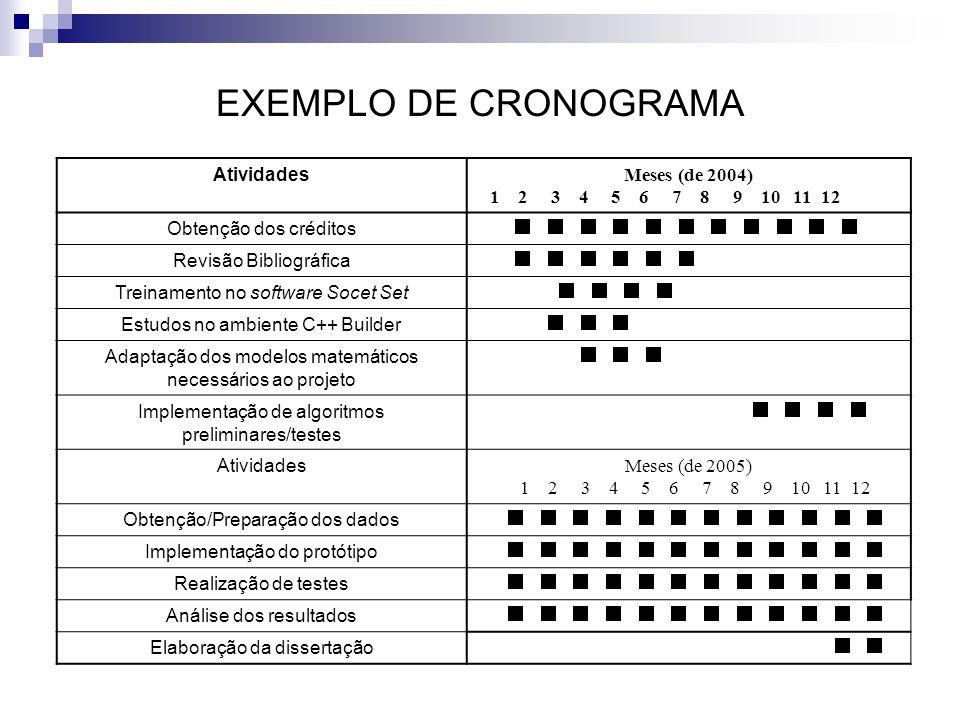 EXEMPLO DE CRONOGRAMA Atividades Meses (de 2004)