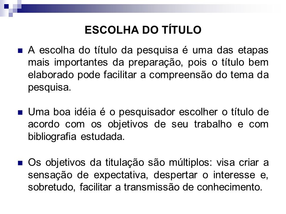 ESCOLHA DO TÍTULO